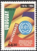 Uruguay 1994 ILO 75th Anniversary/ Labour/ Unions/ Workers/ Emblem 1v (n22708)