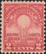 USA 1929  Electric Light/ Edison/ Inventors/ Inventions/ People/ Science  1v  (us1036)
