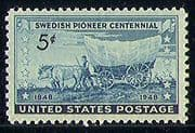 USA 1948 Cattle/ Wagon/ Transport/ Nature/ Animals/ Swedish Pioneers/ Settlers 1v (n29234)