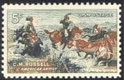 USA 1964 C M Russell/ Artists/ Horses/ Cattle/ Art/ Animals/ Painting 1v (n29207)