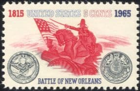 USA 1965 Battle of New Orleans/ Soldiers/ Cannon/ Military/ War/ Horse/ Flag/ Battles 1v (n44981)