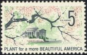 USA 1966 Jefferson Memorial/ Trees/ Blossom/ Plants/ Nature/ Conservation 1v (n44991)