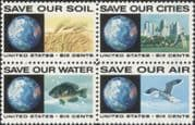 USA 1970 Pollution Prevention/ Environment/ Wheat/ Gull/ Sunfish/ Fish/ Crops/ Birds/ Nature/ Conservation 4v blk (n45029)