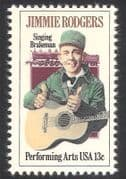 USA 1978 Jimmie Rodgers  /  Trains  /  Music  /  Steam Locomotive  /  Guitar  /  People 1v (n33324)