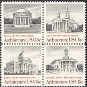 USA 1979 Architects/ Buildings/ Architecture/ Cathedral/ State House/ Stock Exchange 4v blk (n43286)