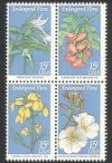 USA 1979 Endangered Flowers  /  Plants  /  Nature  /  Conservation  /  Animation 4v blk (n39042)
