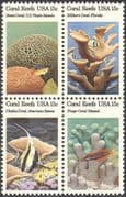 USA 1980 Coral/ Reef/ Fish/ Nature /Marine/ Wildlife/ Conservation/ Environment 4v blk (n43292)