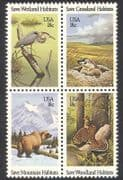 USA 1981 Bear/ Heron/ Birds/ Animals/ Nature/ Habitats/ Conservation 4v blk (n39044)