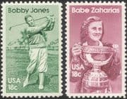 USA 1981 Bobby Jones/ Babe Zaharias/ Golfers/ Golf/ Athletics/ Sports/ Games 2v set (n44824)