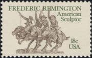 USA 1981 Frederic Remington/ Sculptor/ Horses/ Sculpture/ Art/ People/ Animals 1v (n46268)