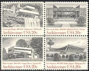 USA 1982 Buildings/ Waterfall/ Plane/ Airport/ Architects/ Architecture/ Transport/ Aircraft 4v blk (n25444)