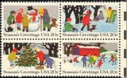 USA 1982 Christmas/ Greetings/ Sledging/ Skating/ Snowman/ Tree 4v blk (n46271)