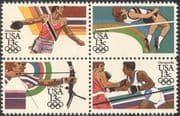 USA 1983 Olympic Games/ Sports/ Archery/ Boxing/ High Jump/ Discus/ Athletics/ Olympics 4v blk (n27709a)