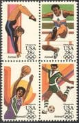 USA 1983 Olympic Games/ Sports/ Basketball/ Football/ Soccer/ Gymnastics/ Athletics/ Olympics 4v blk (n27709)