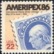"USA 1985 ""Ameripex '86"" Exhibition/ Stamp-on-Stamp/ StampEx/ S-on-S 1v (us1026)"