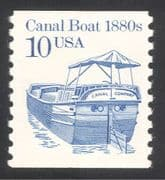 USA 1985 Canal Boat/ Barge/ Commerce/ Business/ Boats/ Transport 1v coil (n24541)