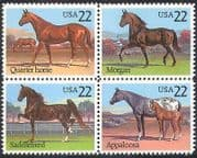 USA 1985 Horses  /  Animals  /  Nature  /  Sport  /  Transport  /  Equestrian 4v blk (n25443)