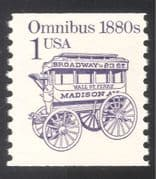 USA 1985 Transport/ Horse Drawn Bus/ Omnibus/ Historic Public Vehicles 1v (n24533)