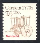 "USA 1985 Transport/ Ox Wagon/ Carreta/ ""Nonprofit"" o/p  1v coil (n29313)"