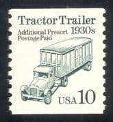 USA 1985 Transport/ Tractor Trailer/ Truck/ Lorry/ Motors 1v o/p coil (n43732)
