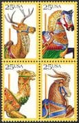 USA 1988 Horse/ Deer/ Camel/ Goat/ Art/ Carving/ Carousel/ Fun Fair 4v blk (n25440)