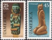 USA 1989  UPAEP/ Discovery of America/ Folk Art/ Carving/ Doll/ Cat 2v set (us1007)
