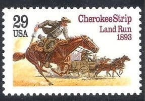 USA 1993 Cherokee Strip  /  Pioneers  /  Horses  /  Rider  /  Wagon  /  Transport  /  History 1v n40139
