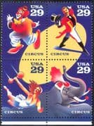 USA 1993 Circus 200th Anniversary/ Clowns/ Elephants/ Trapeze/ Acts/ Animals/ Nature 4v set s-t blk (n25437)