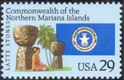 USA 1993 Northern Mariana Islands/ Latte Stones/ Carving/ Palm Tree/ Palms/ Trees 1v (n44364)