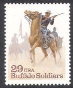 USA 1994 Horses  /  Buffalo Soldiers  /  Military  /  Army  /  Rifle  /  Animals 1v (n22922)