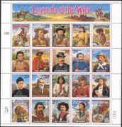 USA 1994 LEGENDS OF THE WEST/ Horses/ Cowboys/ Bison/ Cattle/ Stagecoach 20v sht (n15889)