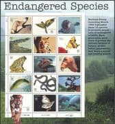 USA 1996 Endangered/ Animals/ Birds/ Nature/ Wildlife/ Parrot/ Cats/ Snakes/ Manatee/ Toad/ Condor/ Conservation 15v sht (b5921)