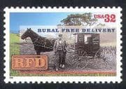 USA 1996 Free Rural Delivery  /  Post  /  Mail  /  Horse  /  Wagon  /  Transport  /  Animals 1v (n39901)