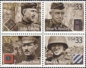 USA 2000  Military/ Soldiers/ WWII/ People/ Cinema/ Actors/ Medals  4v blk  (us1031)