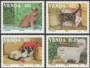 Venda 1993 Domestic Cats/ Siamese/ Persian/ Burmese/ Animals/ Nature 4v set (b671)