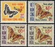 Viet Nam/Vietnam 1974 Butterflies/ Moths/ Insects/ Nature/ Postage Due/ To Pay/ Surcharges/ Surcharges 4v set (n25132)
