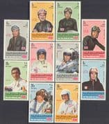 Yemen 1969 Racing Drivers/ Cars/ Sport/ Motorcycles/ Grand Prix/ F1/ People 10v set (n24073)