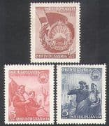 Yugoslavia 1949 Military  /  Soldiers  /  Farm Workers  /  Tractor  /  Flags  /  Buildings 3v n37762