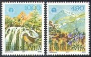 Yugoslavia 1977 Bird  /  Flowers  /  Waterfall  /  Mountains  /  Environment 2v set (n21430)