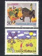 Yugoslavia 1985 Europe  /  Art  /  Paintings  /  Horses  /  Windmill  /  Bicycle 2v set (n37262)