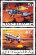 Yugoslavia 1987 Civil Aviation/ Planes/ Aircraft/ Transport/ Douglas DC-10/ Potez 24-9 Bi-plane  2v set (n23316)