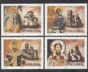 Yugoslavia 1990 Frescoes  /  Art  /  Paintings  /  Buildings  /  Architecture 4v set (n37761)