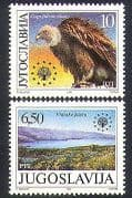 Yugoslavia 1990 Vulture  /  Birds  /  Lake  /  Nature  /  Protection  /  Conservation 2v set n37258