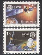 Yugoslavia 1991 Europa  /  Space  /  Satellites  /  Communications  /  Radio 2v set (n21357)