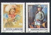 Yugoslavia 1991 Europe  /  Art  /  Cat  /  Painting  /  Artists  /  people 2v set (n33962)
