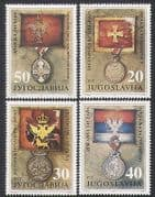 Yugoslavia 1991 Military Medals  /  Battle Flags  /  Honours  /  Army 4v set (n34512)