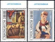 Yugoslavia 1993 Europe/ Art/ Cat/ Horse/ Circus/ Artists/ Painters 2v set (n32079)