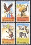Zambia 1979 IYC  /  Rabbit  /  Eagle  /  Zebra  /  Animals  /  Nature  /  Children  /  Stories 4v set b7965