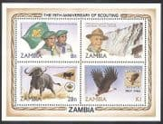 Zambia 1982 Scouts  /  Scouting  /  Baden-Powell  /  Waterfall  /  Eagle  /  Birds 4v m  /  s (b1949a)