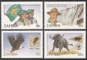 Zambia 1982 Scouts  /  Scouting  /  Baden-Powell  /  Waterfall  /  Eagle  /  Birds 4v set(b1949)